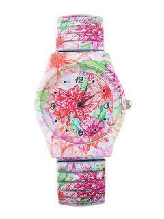 Leaf Blossom Pattern Adorn Alloy Watch