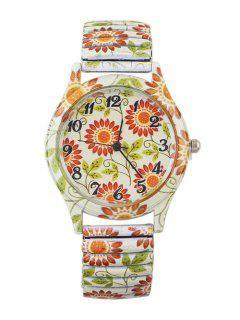 Alloy Leaf Sunflower Pattern Watch - Brown