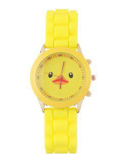 Duck Pattern Roud Dial Plate Watch - Yellow