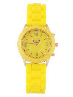 Duckling Pattern Roud Dial Plate Watch - Yellow