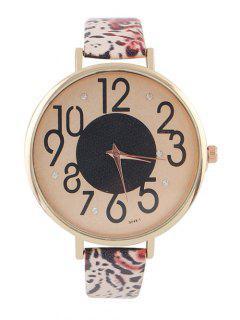 Diamantes De Imitación De Cuero De Imitación De Leopardo Print Watch - Rojo