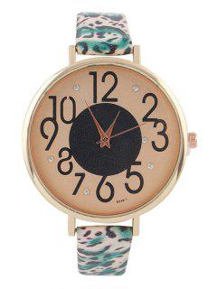 Rhinestone Faux Leather Leopard Print Watch - Green