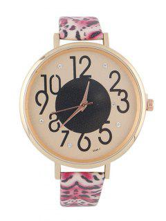 Rhinestone Faux Leather Leopard Print Watch - Hot Pink