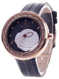 Rhinestone PU Leather Floral Pattern Watch - Black