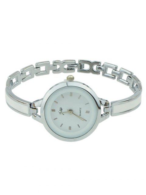 outfit Alloy Round Dial Plate Chain Watch - SILVER  Mobile