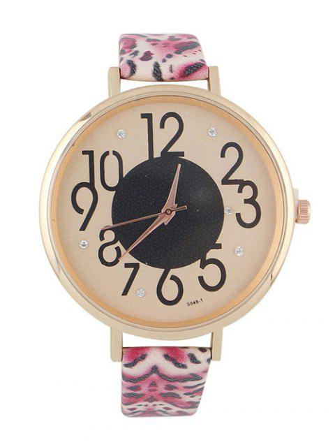 chic Rhinestone Faux Leather Leopard Print Watch - HOT PINK  Mobile