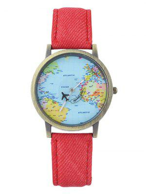 Montre en avion à la carte mondiale en cuir Faux Leather