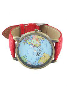 Faux leather world map airplane watch red watches zaful faux leather world map airplane watch sciox Choice Image