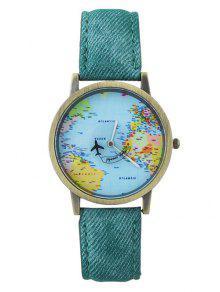 Reloj De Avión De Mapa Mundial De Cuero Falso - Verde