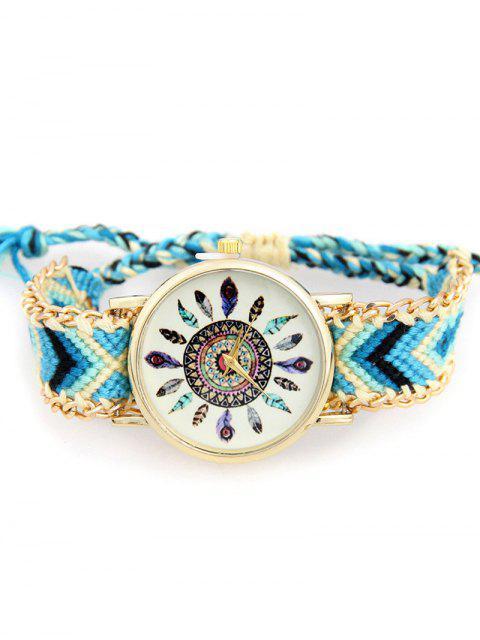 best Geometric Feather Pattern Woven Watch - WATER BLUE  Mobile
