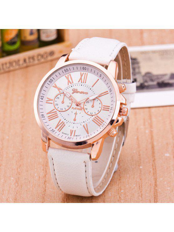 Reloj Imitación Cuero Diseño Quartz y Números Romanos - Blanco
