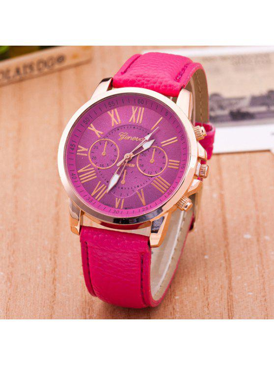 fashion PU Leather Roman Numerals Quartz Table - ROSE RED