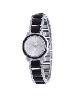 Rhinestone Embellished Alloy Chain Quartz Watch - Silver And Black