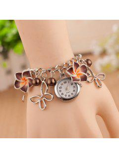 Faux Pearl Butterfly Flower Quartz Watch - Coffee