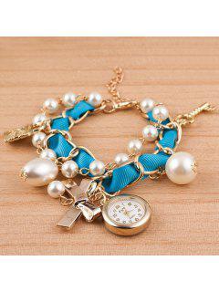 Faux Pearl Bows Key Lock Bracelet Watch - Light Blue