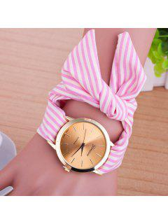Bows Cloth Watchband Quartz Table - Pink