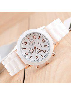 Silicone Strap Quartz Watch - White