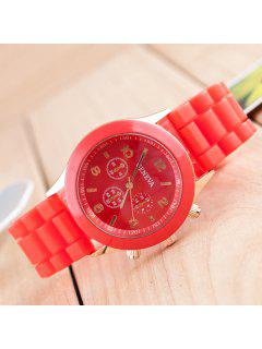 Silicone Strap Quartz Watch - Red