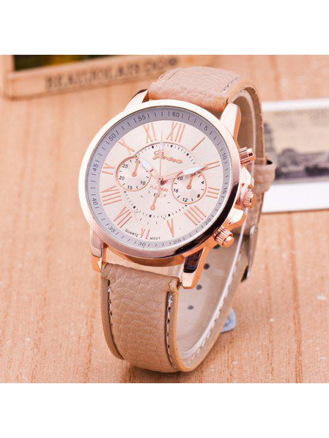chic PU Leather Roman Numerals Quartz Table - KHAKI  Mobile