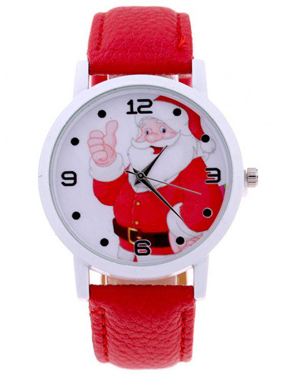 hot PU Leather Christmas Santa Quartz Watch - RED