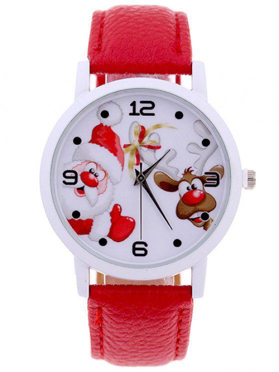 fancy PU Leather Christmas Elk Santa Watch - RED