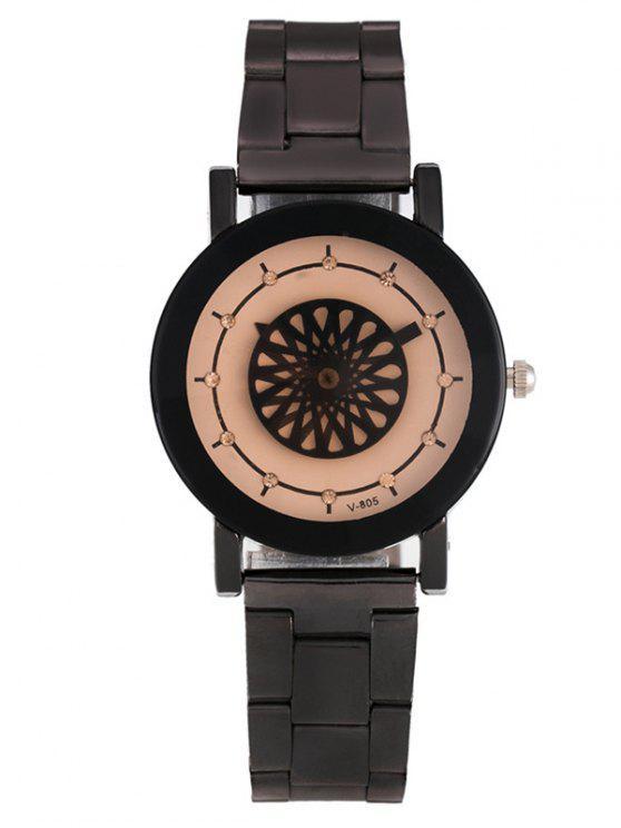 fashion Rhinestone Analog Quartz Floral Watch - WHITE
