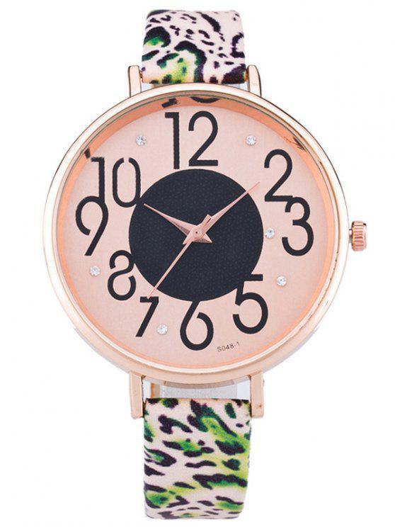 sale PU Leather Leopard Print Rhinestone Watch - JADE GREEN