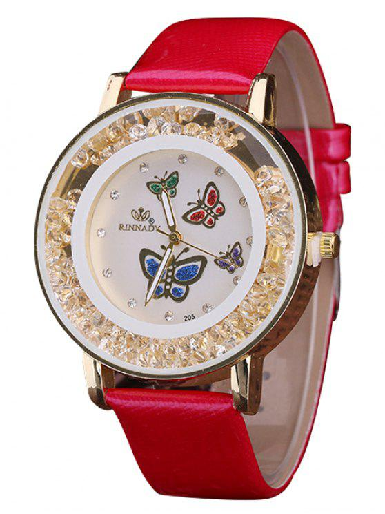 women Faux Leather Rhinestone Butterfly Quartz Watch - RED