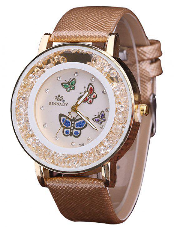 جلدية فو حجر الراين الفراشة كوارتز ساعة - BROWN