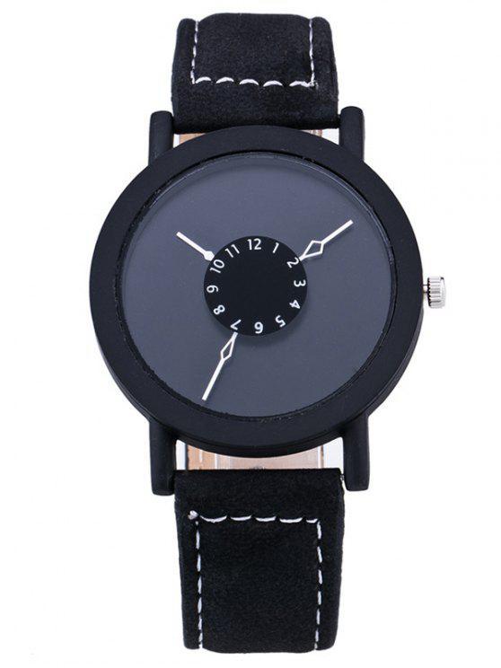 Reloj de cuarzo de cuero de imitación de círculo de la vendimia - Negro