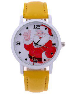 PU Leather Christmas Santa Quartz Watch - Golden