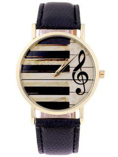 PU Leather Music Note Piano Key Watch - Black