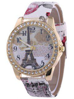 Rhinestone PU Leather Eiffel Tower Watch - White