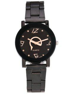 Rhinestone Analog Quartz Circle Watch - Black