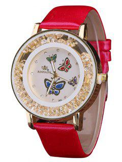 Faux Leather Rhinestone Butterfly Quartz Watch - Red