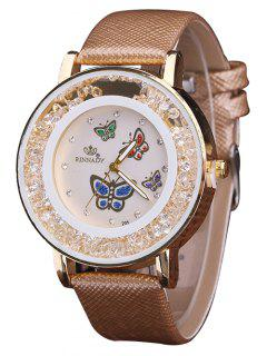 Faux Leather Rhinestone Butterfly Quartz Watch - Brown