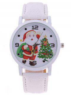 Faux Leather Gift Christmas Tree Santa Watch - White