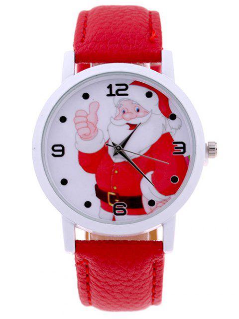 Santa NoËl Quartz Montre de PU Cuir - Rouge  Mobile