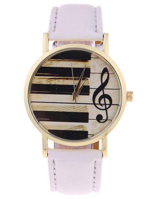 online PU Leather Music Note Piano Key Watch -   Mobile