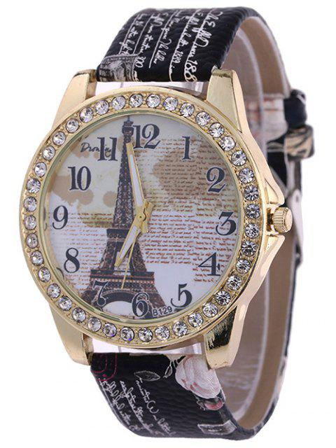 outfits Rhinestone PU Leather Eiffel Tower Watch -   Mobile