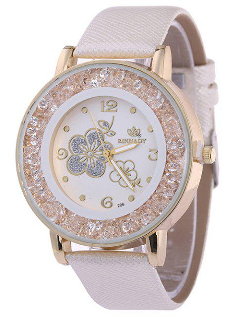 new Rhinestone Faux Leather Flower Quartz Watch - WHITE  Mobile