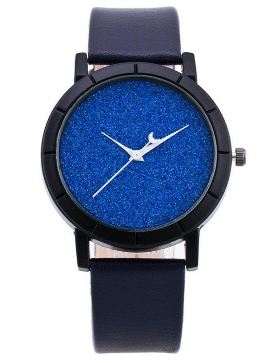 Montre à quartz en cuir PU effet nouvelle lune - Bleu saphir