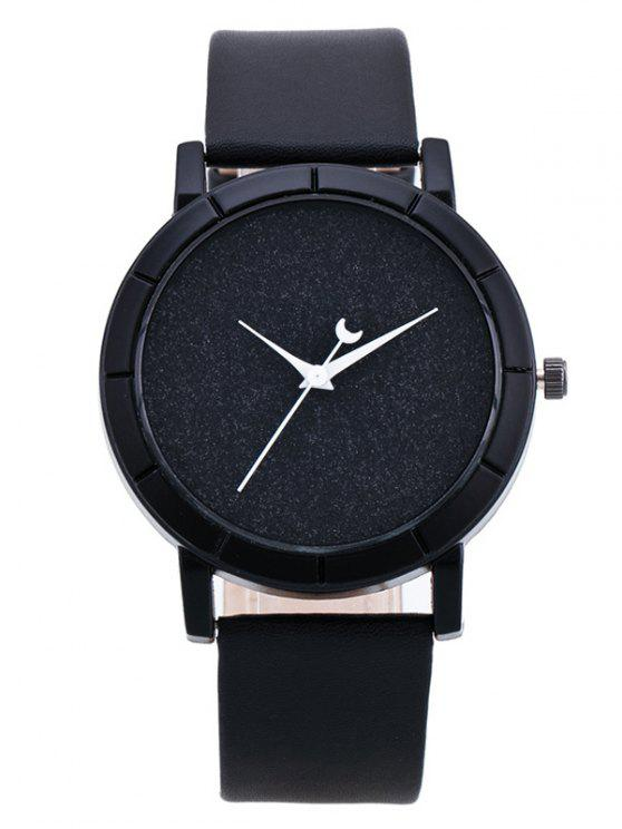 trendy PU Leather Baby Breath Moon Quartz Watch - BLACK