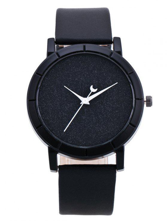 trendy PU Leather Baby Breath Moon Quartz Watch - BLACK