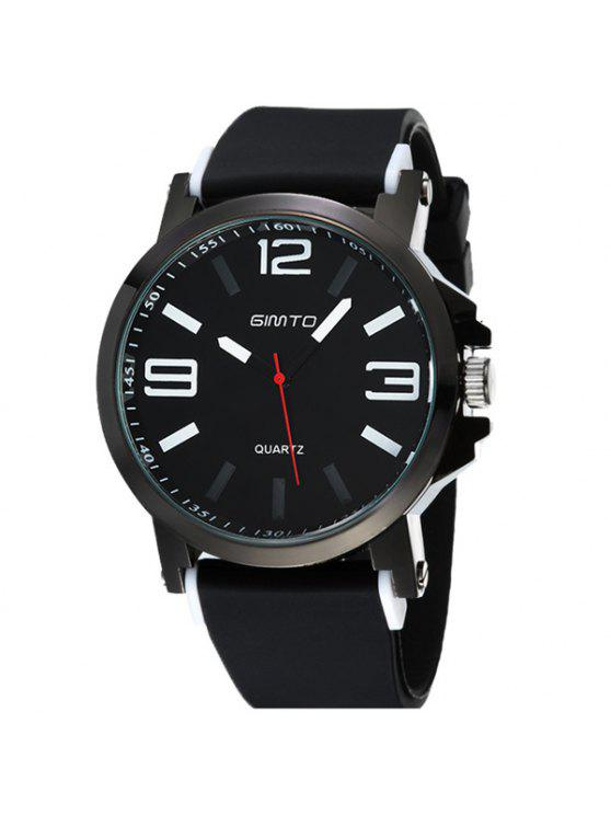 sale GIMTO Alloy Silica Gel Band Analog Quartz Watch - WHITE