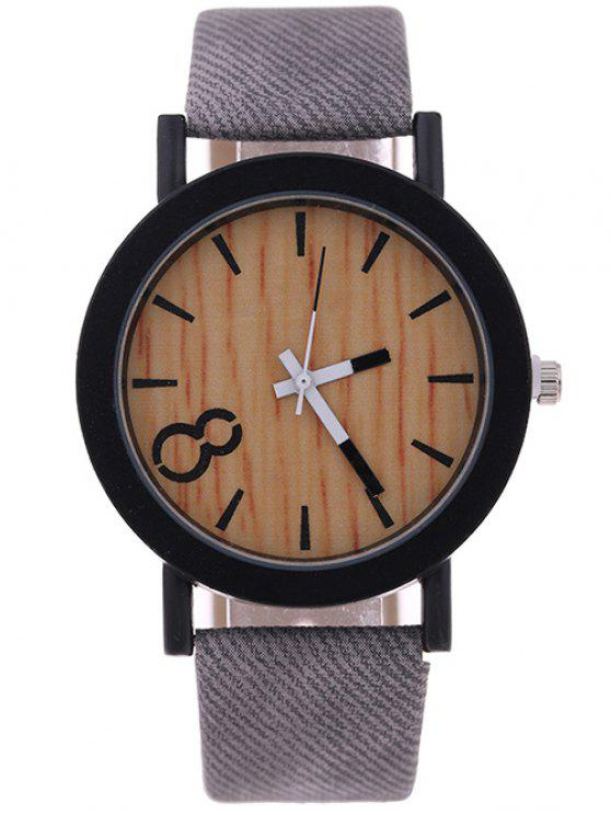 fashion Wood Grain Faux Leather Quartz Watch - GRAY