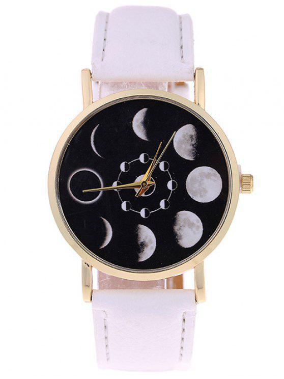 fashion Lunar Eclipse Faux Leather Quartz Watch - WHITE