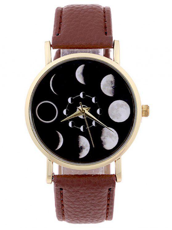 Quarzuhr aus Kunst Leder mit Mondmuster - Braun