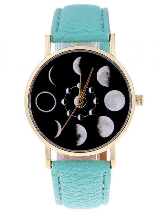 Montre en Quartz  en forme d'éclipse de Lune en Faux cuir - Vert Menthe