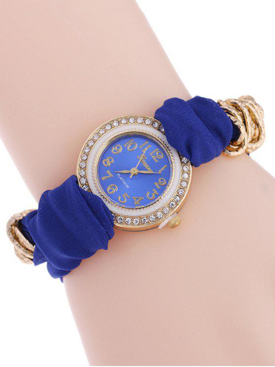 affordable Velvet Rhinestone Quartz Analog Watch - BLUE